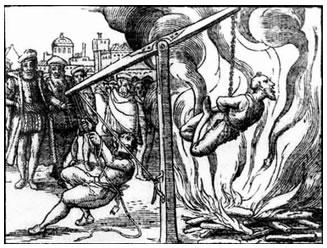"""Um """"herege"""" sendo queimado pela inquisição Católica"""